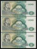 Aftasten 3 bankbiljetten 100 benaming van financiële piramide MMM Royalty-vrije Stock Foto