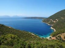 Afteli plaża wewnątrz w Lefkada wyspie, Grecja Zdjęcie Stock