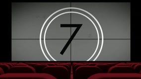 Aftelprocedure op het lege theaterscherm stock videobeelden