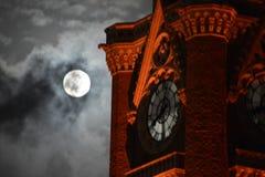 Aftelproceduretijd voor moonset Stock Foto's