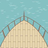 Afterdeck of a boat and a sea. Vector illustration Royalty Free Stock Photography