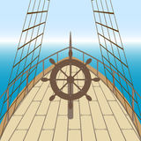 Afterdeck of a boat and a sea. Vector illustration Royalty Free Stock Photos