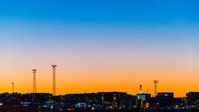 Afterglow above the city in Helsinki Royalty Free Stock Image