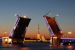 Afterglow, Architecture, Bridge Stock Photo