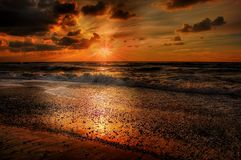 Afterglow, Beach, Clouds Royalty Free Stock Photos