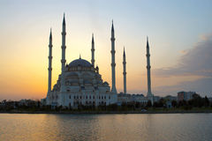 AFterglow behind the Mosque. Mosque in Adana just after sunset royalty free stock photography