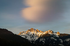 Afterglow of evening sun in tirol alps at winter Stock Images