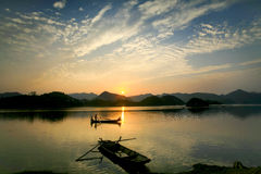 Afterglow on the lake. The afterglow was taken from the Aha lake in Guiyang royalty free stock photo