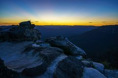 Afterglow at lincolns rock, blue mountains, australia 3. Afterglow at lincolns rock, blue mountains national park, australia royalty free stock photo