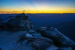 Afterglow at lincolns rock, blue mountains, australia 7. Afterglow at lincolns rock, blue mountains national park, australia stock photography