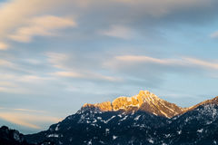 Afterglow na austriackich górach Obraz Stock