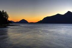 Afterglow nad dennym wpustem Zdjęcia Royalty Free