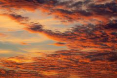 Afterglow sky background with clouds stock photo