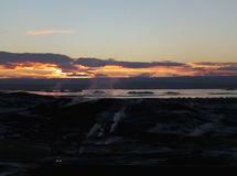 Afterglow of sunset over the geothermal area and the lake of Myvatn Royalty Free Stock Image