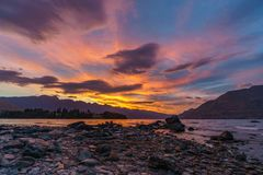 Afterglow after sunset with red sky over lake wakatipu, queenstown, new zealand 4. Afterglow after sunset with red sky over lake wakatipu, queenstown, otago, new stock image