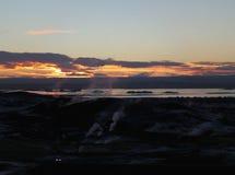 Afterglow zmierzch nad geotermicznym terenem i jezioro Myvatn Obraz Royalty Free