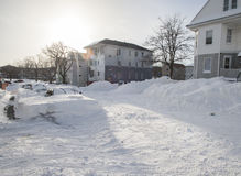 The aftermath and cleanup of the blizzard of 2013 Royalty Free Stock Photo