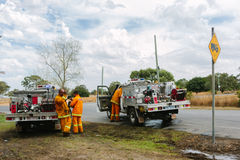 Aftermath of the Epping Bushfires. EPPING, AUSTRALIA - 20 DECEMBER 2015: A day after fires swept through Epping in Melbourne, CFA Fire Crews patrol the area for Stock Images