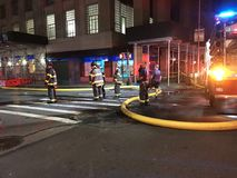 Aftermath Of Four Alarm Fire At 24 Murray Street 10. Around 200 firefighters battled a stubborn fire that started inside a restaurant on the ground floor of a Royalty Free Stock Image