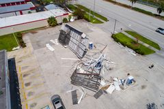 Gas station destroyed after Hurricane Irma. Aftermath Hurricane Irma Naples FL gas station destroyed from wind damage Stock Photos