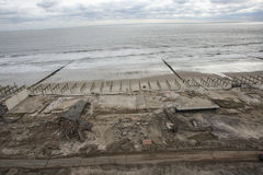 Aftermath hurricane Sandy. Panoramic view in Far Rockaway area   October 29, 2012 in New York City, NY Stock Image