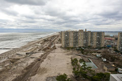 Aftermath hurricane Sandy. Panoramic view in Far Rockaway area   October 29, 2012 in New York City, NY Stock Photography