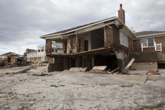 Aftermath hurricane Sandy. NEW YORK - October 31:Destroyed homes in  Far Rockaway after Hurricane Sandy October 29, 2012 in New York City, NY Royalty Free Stock Image