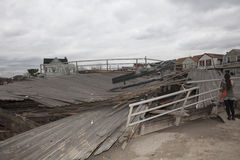 Aftermath hurricane Sandy. NEW YORK - October 31:Destroyed homes in  Far Rockaway after Hurricane Sandy October 29, 2012 in New York City, NY Stock Photos
