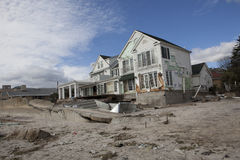 Aftermath hurricane Sandy. Panoramic view in Far Rockaway area   October 29, 2012 in New York City, NY Stock Photo
