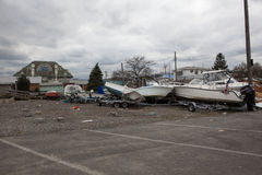 Aftermath hurricane Sandy. Panoramic view in Far Rockaway area   October 29, 2012 in New York City, NY Royalty Free Stock Photo