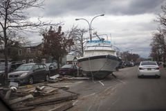 Aftermath hurricane Sandy. Panoramic view in Far Rockaway area   October 29, 2012 in New York City, NY Royalty Free Stock Photography