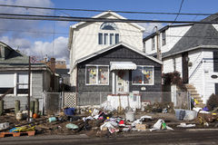 Aftermath hurricane Sandy. Panoramic view in Far Rockaway area   October 29, 2012 in New York City, NY Royalty Free Stock Image