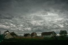 Altocumulus asperitas, also known as bubble clouds at the back of a thunderstorm cluster over central Romania. The aftermath of a serie of strong thunderstorms stock images