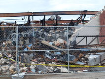 Aftermath of Six Alarm Dallas Fire. Dallas,USA,15 July 2017. The aftermath of the massive 6 alarm fire on 8th July can be seen here, Saturday, 15th July royalty free stock photo