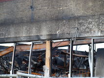 Aftermath of Six Alarm Dallas Fire. Dallas,USA,15 July 2017. The aftermath of the massive 6 alarm fire on 8th July can be seen here, Saturday, 15th July royalty free stock image