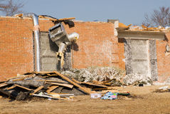 Aftermath of Tornado Damaged House Royalty Free Stock Photos
