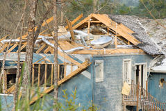 Aftermath of a tornado damaged wood framed house Stock Photography