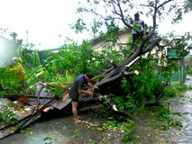 Aftermath of typhoon Glenda (Rammasun - international name) in the Philippines Stock Photo