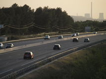 Afternon highway traffic on summer. South france traffic on motorway in end of summer day Royalty Free Stock Image