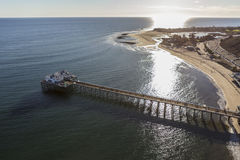 Afternoon aerial of Malibu Pier and Lagoon. Aerial of Malibu Pier, Surfrider Beach and Malibu Lagoon in Southern California Royalty Free Stock Photo