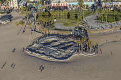 Afternoon Aerial of Venice Beach Skate Park in Los Angeles Royalty Free Stock Photos