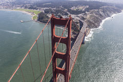 Afternoon Aerial View of the Golden Gate Bridge Stock Photo