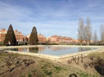 Afternoon in Alcobendas. Main square in Alcobendas where residents gather on weekends for some leisure time, Community of Madrid, Spain Royalty Free Stock Image
