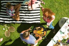 Afternoon with barbecue royalty free stock photo
