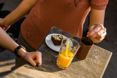 Afternoon break. With drink and dessert Royalty Free Stock Photos