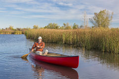 Afternoon canoe paddling Royalty Free Stock Images