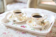 The Afternoon Coffee. Two British-style cups of coffee Royalty Free Stock Photo