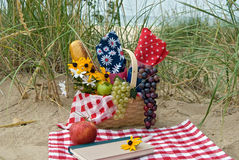 beach picnic with book Stock Images