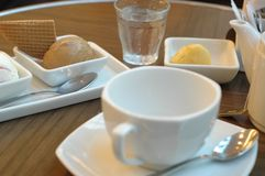 Afternoon ice cream. Ice cream and coffee teatime Stock Photo