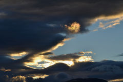 Afternoon with Illuminated Clouds, Chilean Patagonia Royalty Free Stock Photo